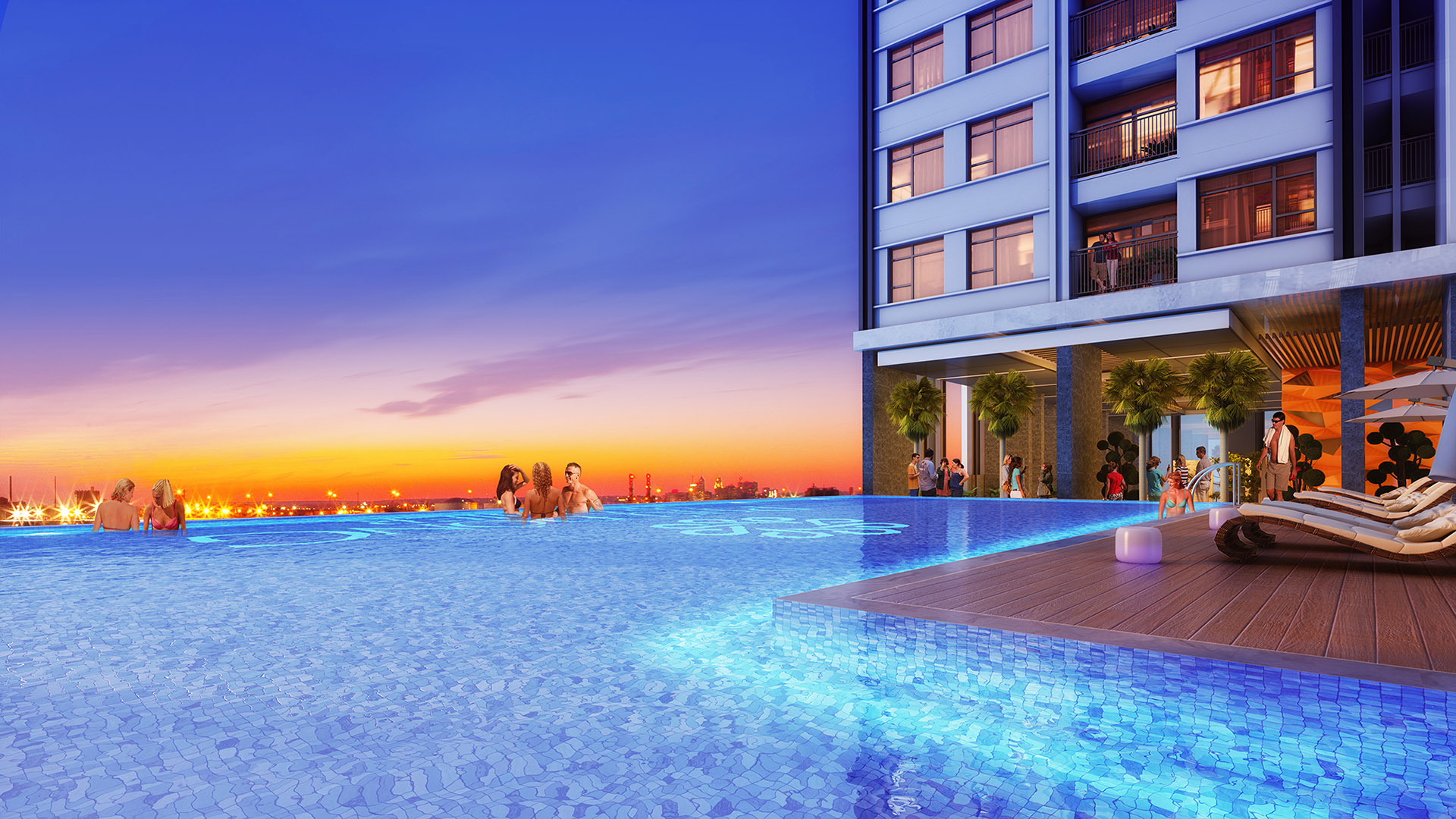 Hồ bơi nước ấm tràn bờ của căn hộ Phú Đông Premier giúp thư giãn tối đa giữa không gian trong lành xanh mát.