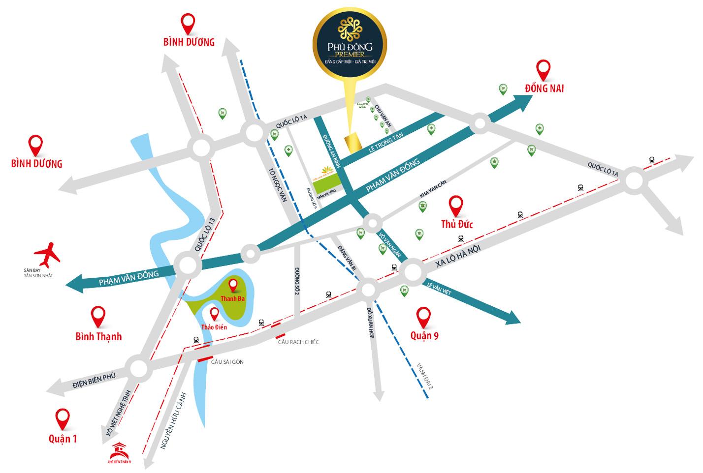 Vị trí dự án căn hộ chung cư Phú Đông Premier tại đường Lê Trọng Tấn