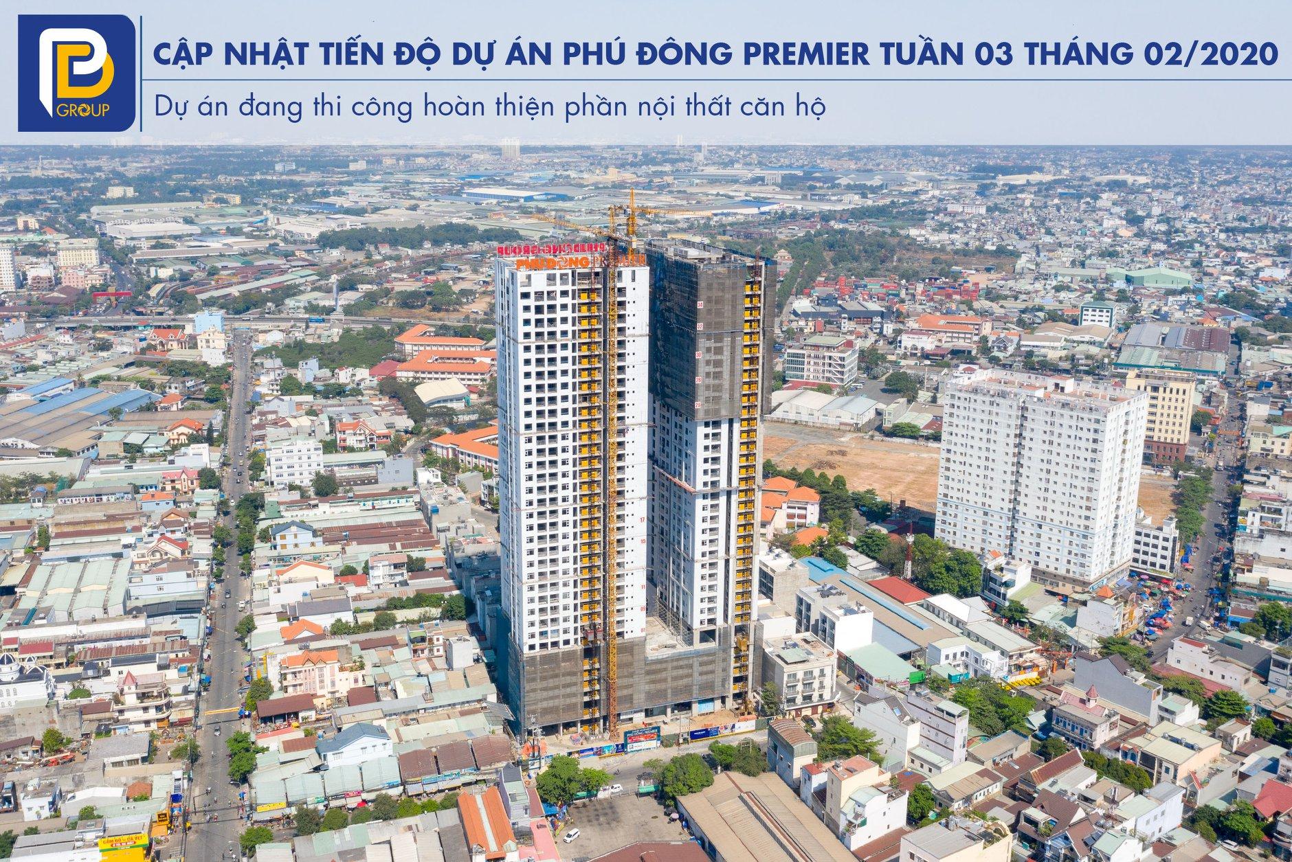 Tiến độ xây dựng căn hộ Phú Đông Premier tháng 02/2020