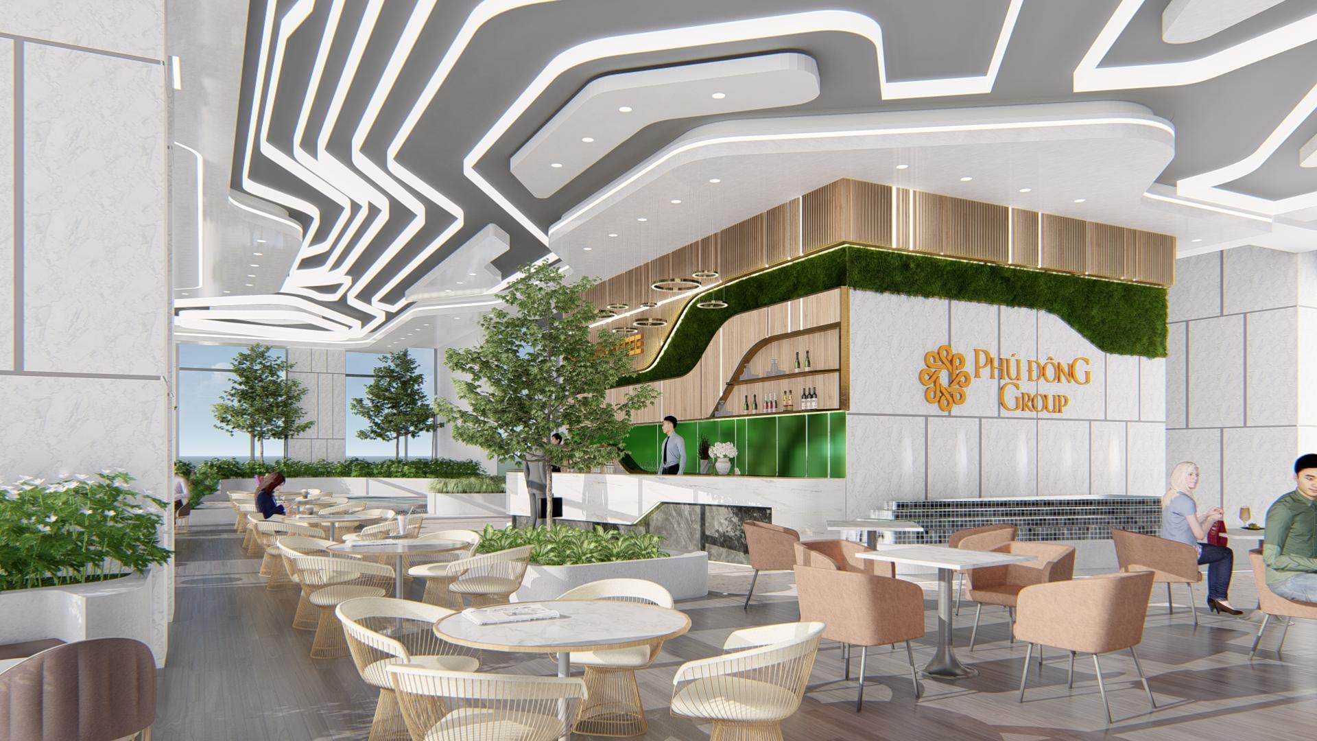 Không gian rợp bóng cây xanh tại Phú Đông Premier.